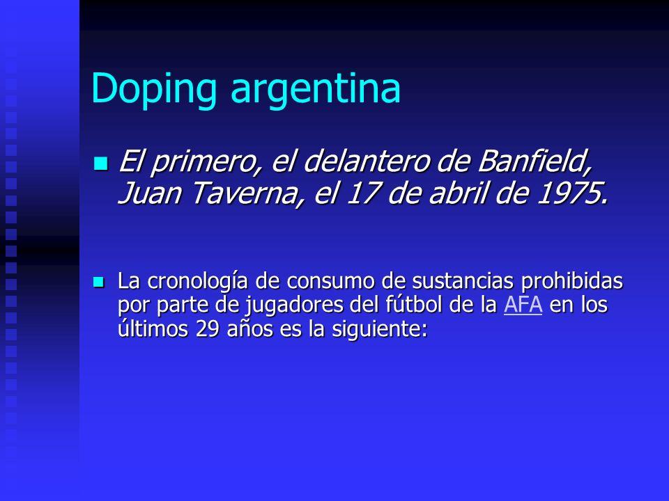 Doping argentina El primero, el delantero de Banfield, Juan Taverna, el 17 de abril de 1975.