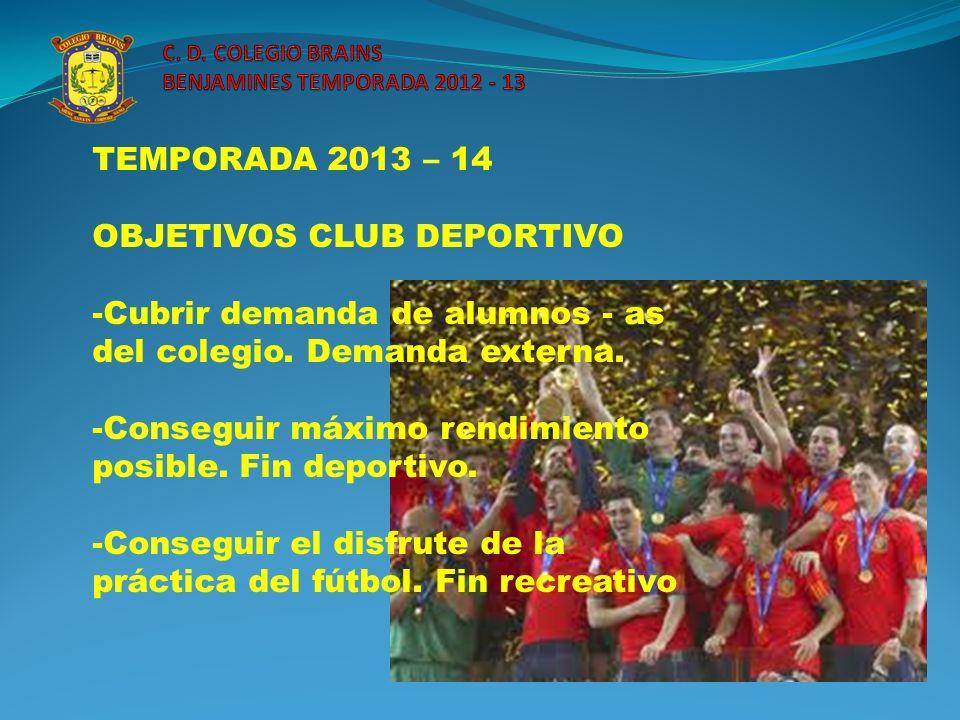 C. D. COLEGIO BRAINS BENJAMINES TEMPORADA 2012 - 13