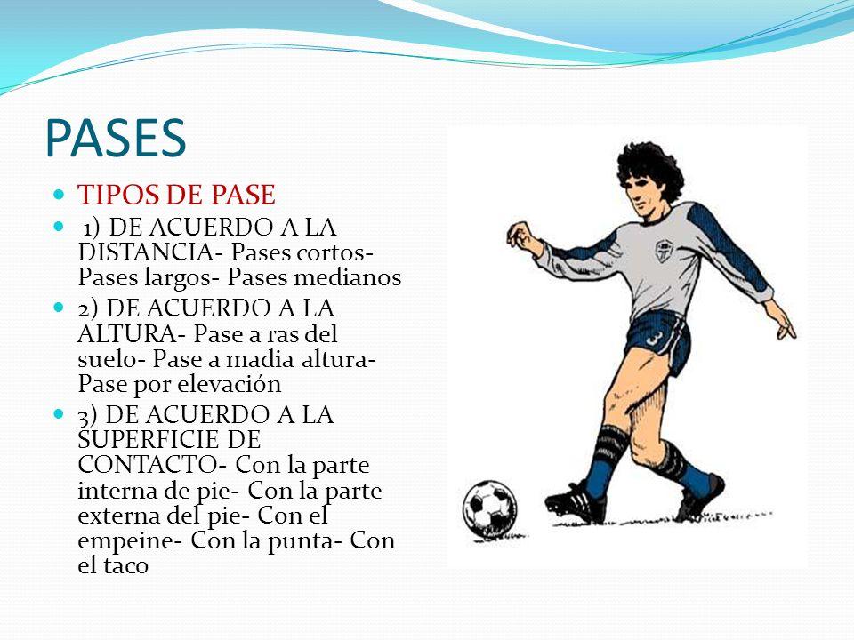 PASES TIPOS DE PASE. 1) DE ACUERDO A LA DISTANCIA- Pases cortos- Pases largos- Pases medianos.