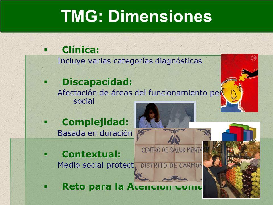 INTRODUCCIÓN TMG: Dimensiones Clínica: Discapacidad: Complejidad: