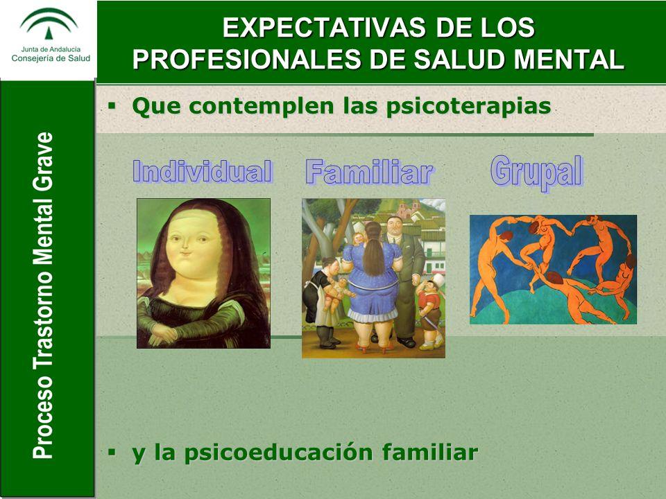 EXPECTATIVAS DE LOS PROFESIONALES DE SALUD MENTAL