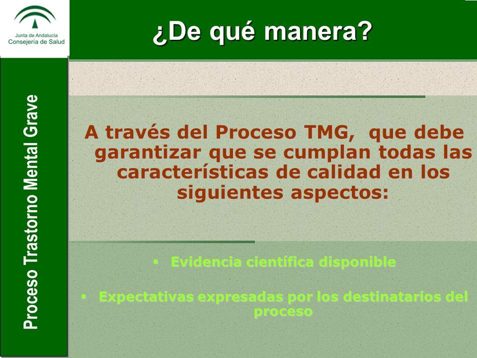 ¿De qué manera A través del Proceso TMG, que debe garantizar que se cumplan todas las características de calidad en los siguientes aspectos: