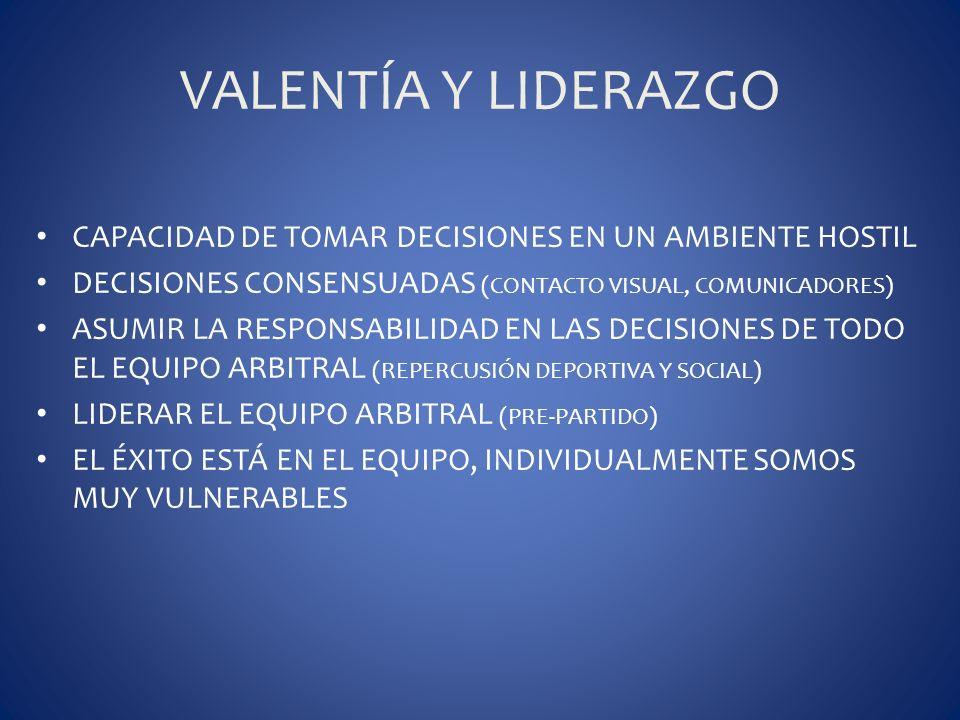 VALENTÍA Y LIDERAZGO CAPACIDAD DE TOMAR DECISIONES EN UN AMBIENTE HOSTIL. DECISIONES CONSENSUADAS (CONTACTO VISUAL, COMUNICADORES)