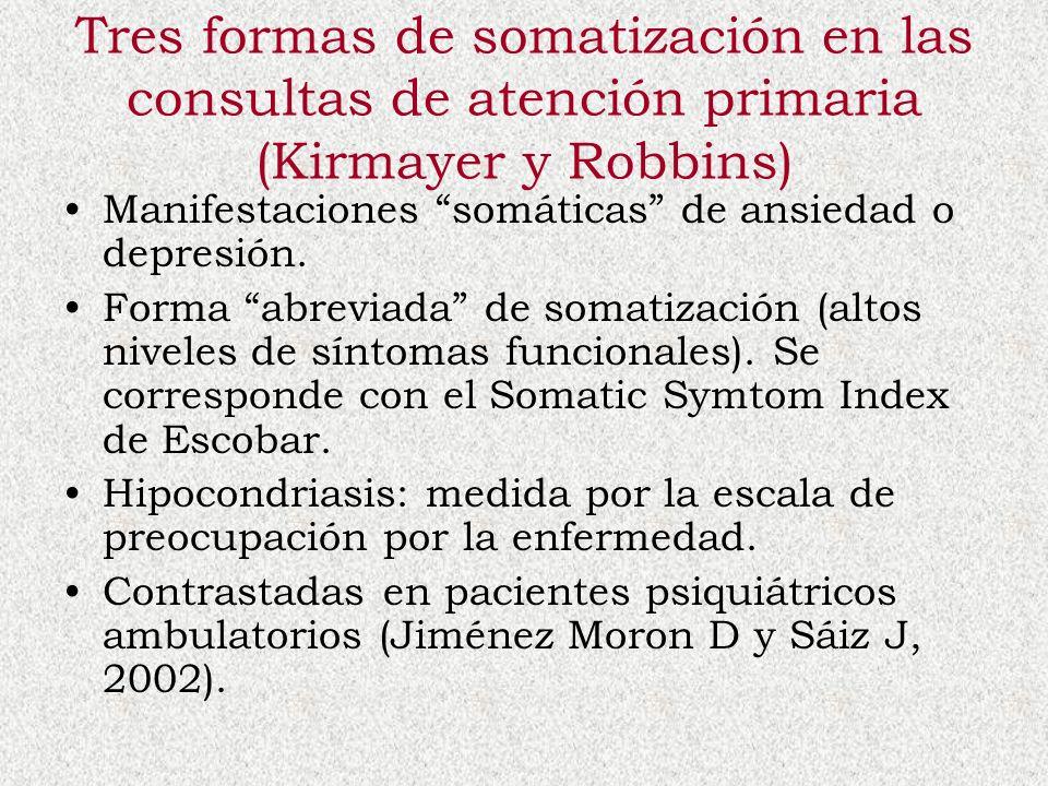 Tres formas de somatización en las consultas de atención primaria (Kirmayer y Robbins)