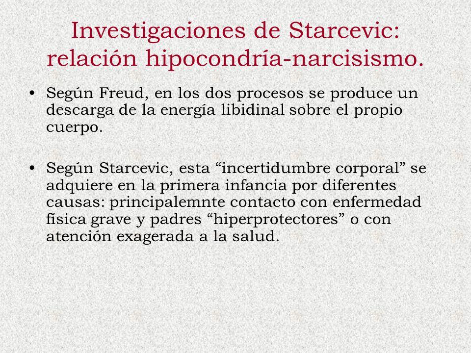 Investigaciones de Starcevic: relación hipocondría-narcisismo.