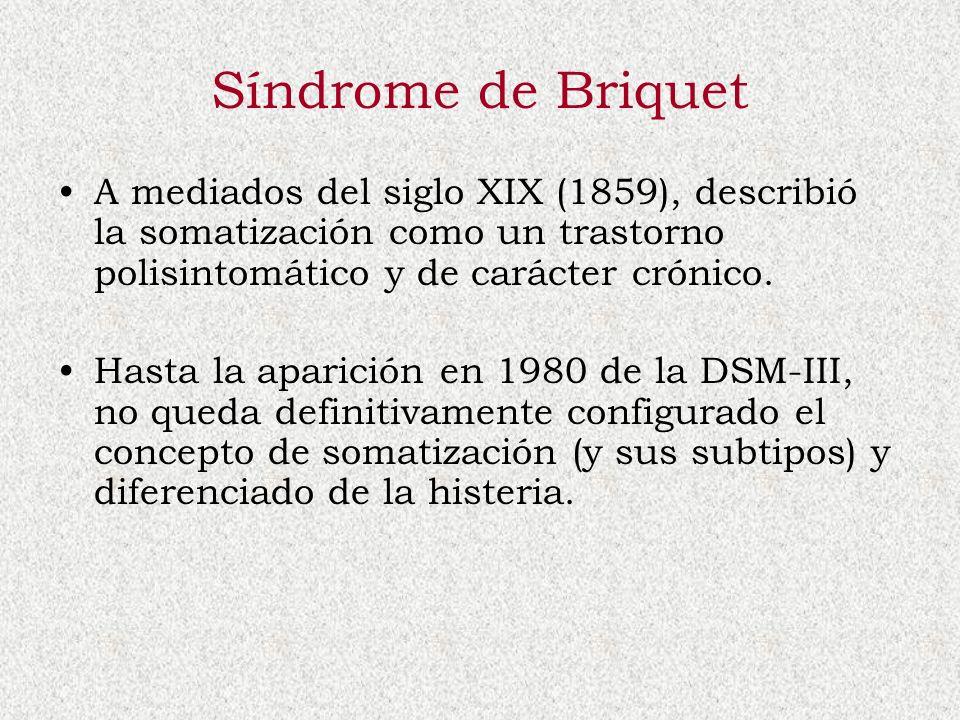 Síndrome de Briquet A mediados del siglo XIX (1859), describió la somatización como un trastorno polisintomático y de carácter crónico.
