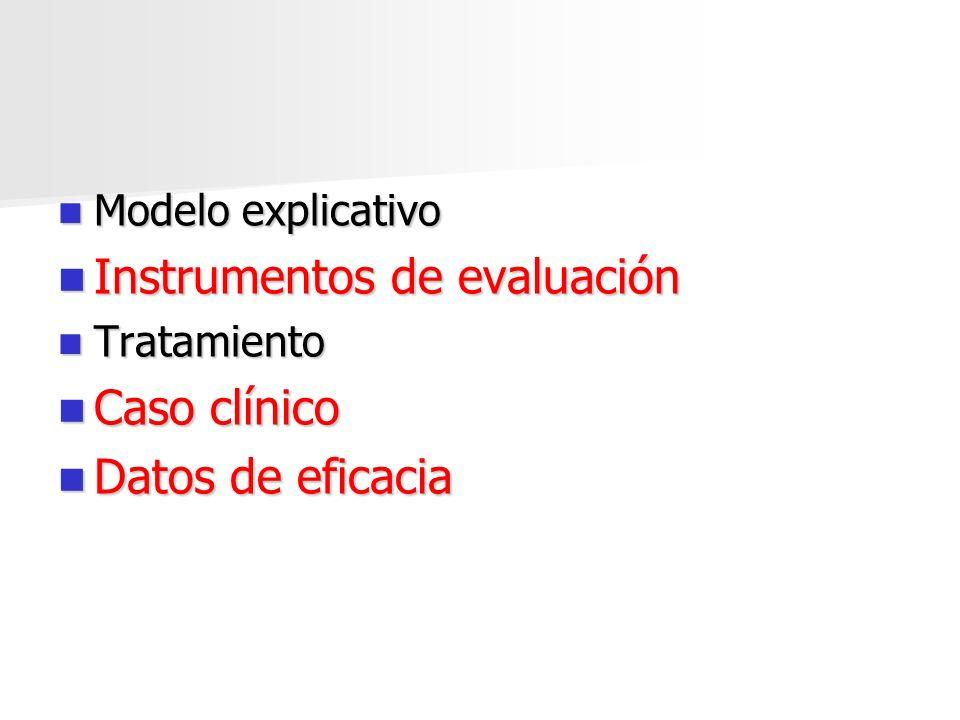 Instrumentos de evaluación Caso clínico Datos de eficacia