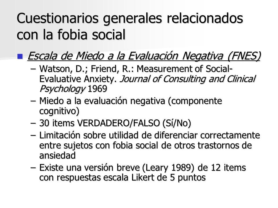 Cuestionarios generales relacionados con la fobia social