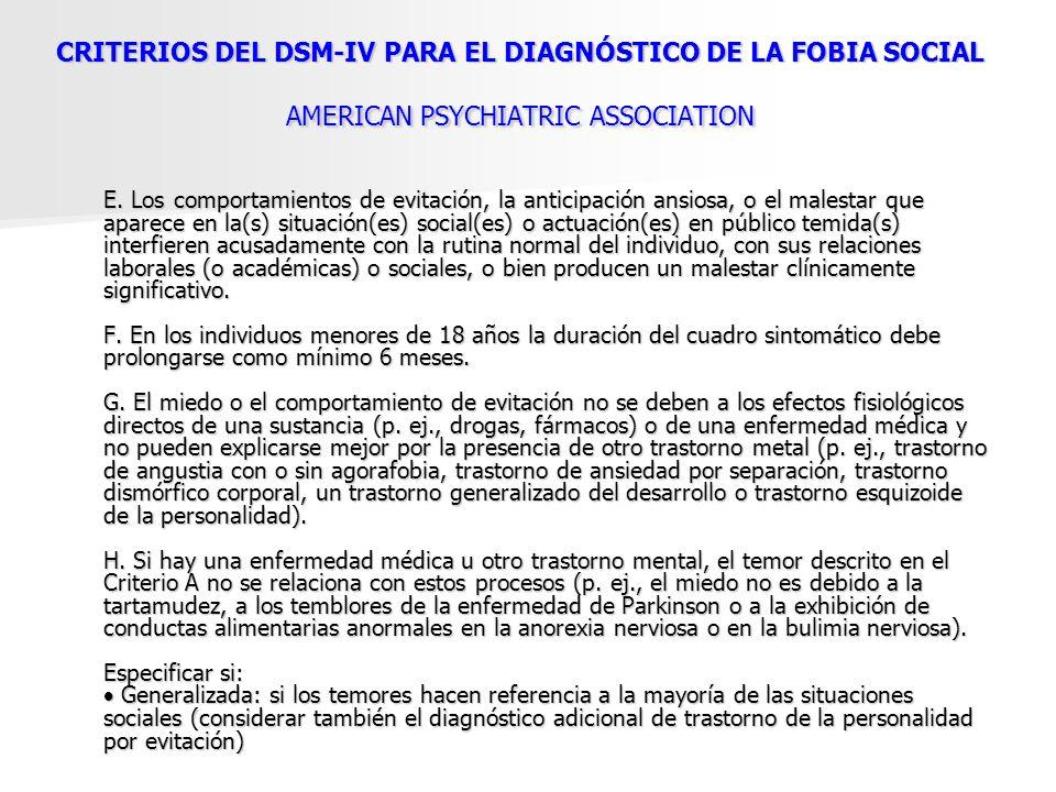CRITERIOS DEL DSM-IV PARA EL DIAGNÓSTICO DE LA FOBIA SOCIAL AMERICAN PSYCHIATRIC ASSOCIATION
