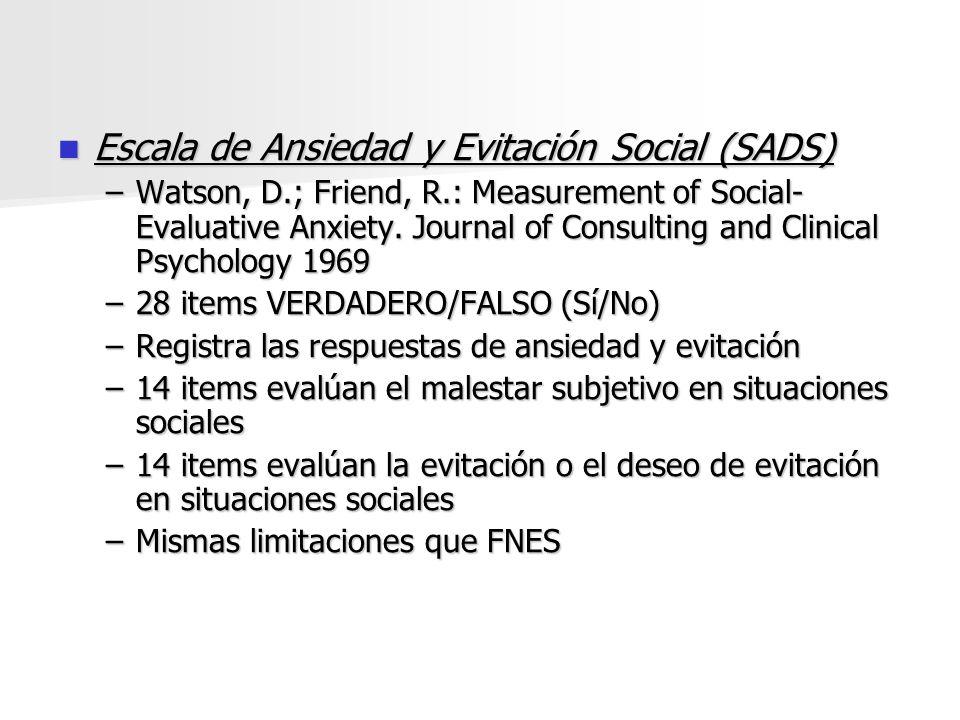 Escala de Ansiedad y Evitación Social (SADS)