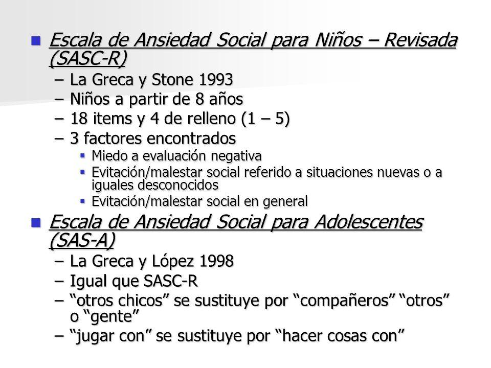 Escala de Ansiedad Social para Niños – Revisada (SASC-R)
