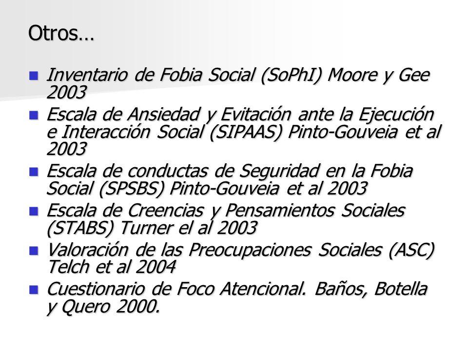 Otros… Inventario de Fobia Social (SoPhI) Moore y Gee 2003