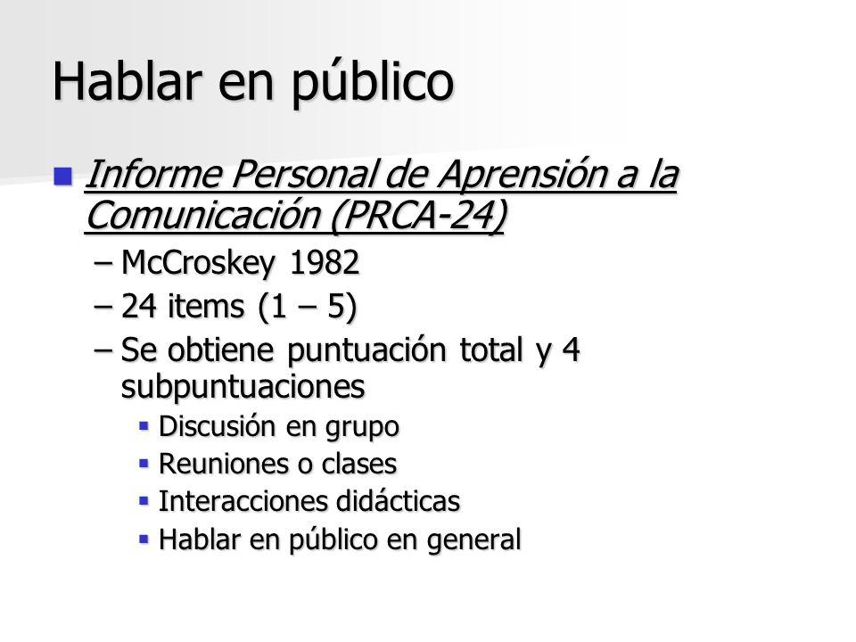Hablar en público Informe Personal de Aprensión a la Comunicación (PRCA-24) McCroskey 1982. 24 items (1 – 5)