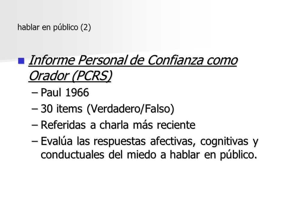 Informe Personal de Confianza como Orador (PCRS)