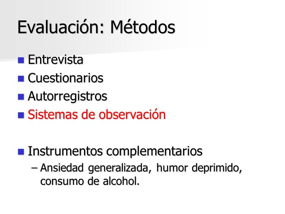 Evaluación: Métodos Entrevista Cuestionarios Autorregistros