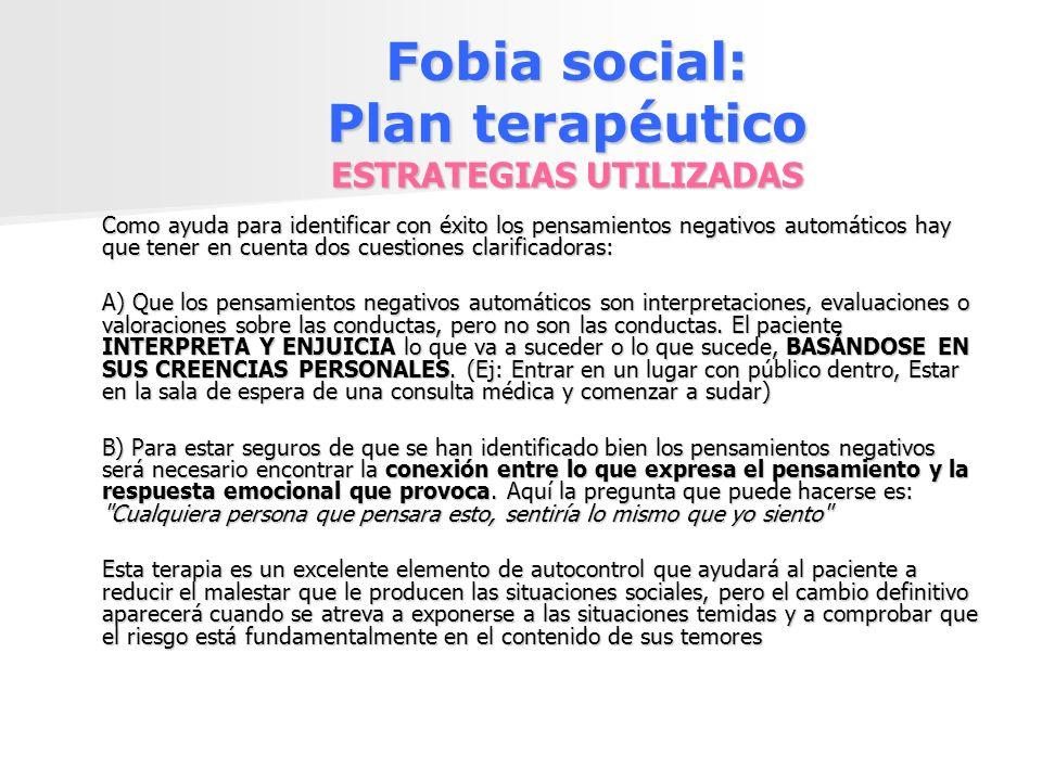 Fobia social: Plan terapéutico ESTRATEGIAS UTILIZADAS