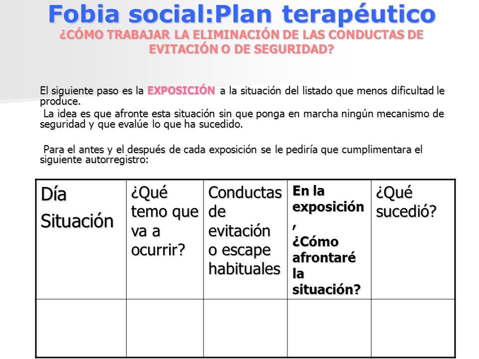 Fobia social:Plan terapéutico ¿CÓMO TRABAJAR LA ELIMINACIÓN DE LAS CONDUCTAS DE EVITACIÓN O DE SEGURIDAD