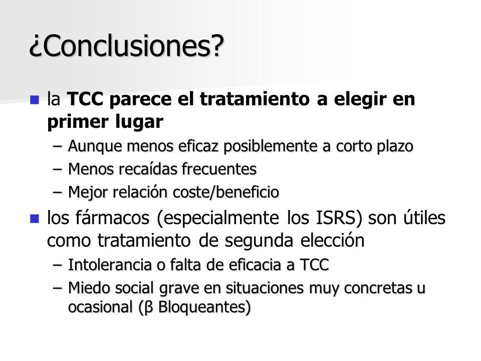 ¿Conclusiones la TCC parece el tratamiento a elegir en primer lugar