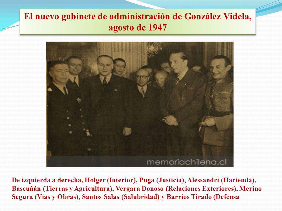 El nuevo gabinete de administración de González Videla, agosto de 1947