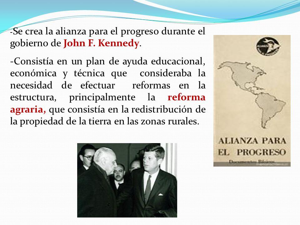 -Se crea la alianza para el progreso durante el gobierno de John F