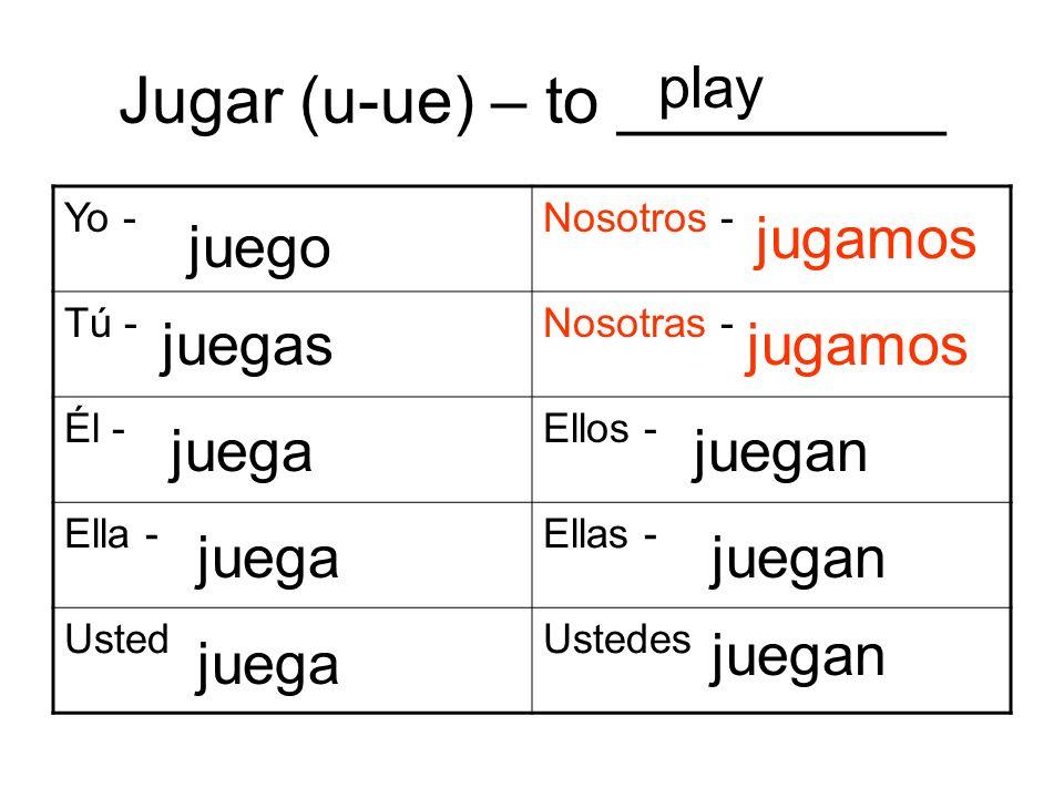 Jugar (u-ue) – to _________