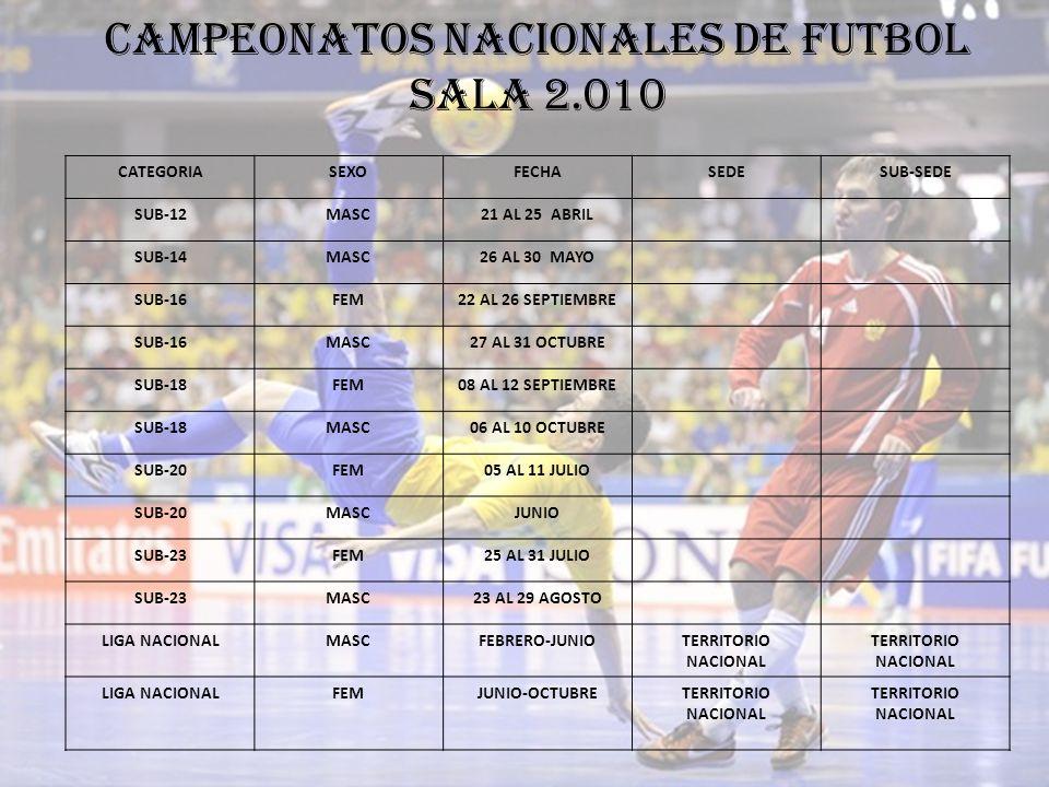 CAMPEONATOS NACIONALES DE FUTBOL SALA 2.010