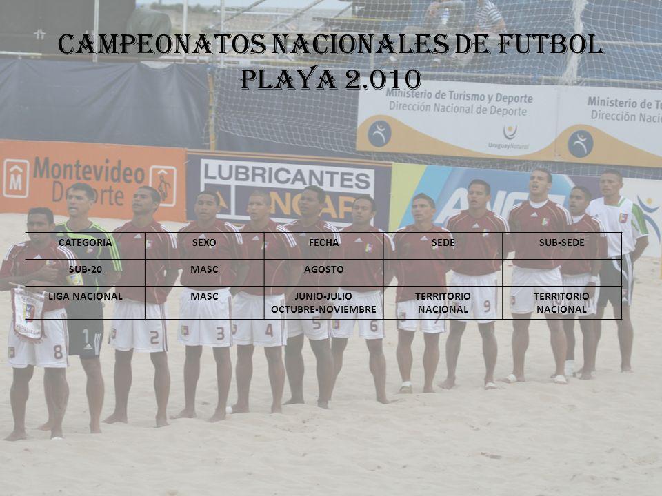 CAMPEONATOS NACIONALES DE FUTBOL PLAYA 2.010