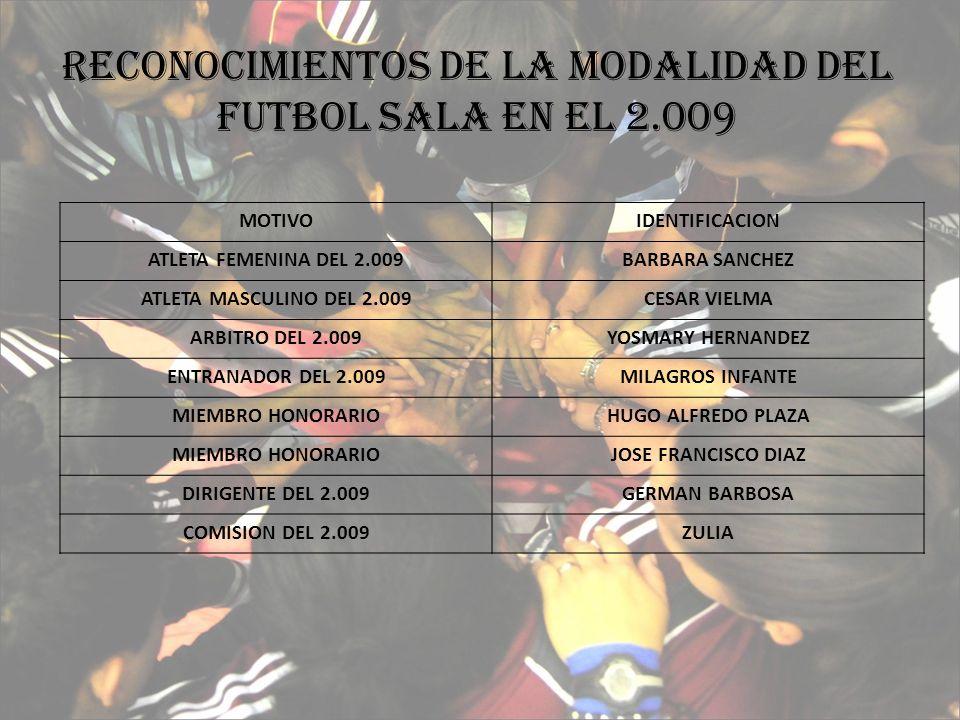 RECONOCIMIENTOS DE LA MODALIDAD DEL FUTBOL SALA EN EL 2.009