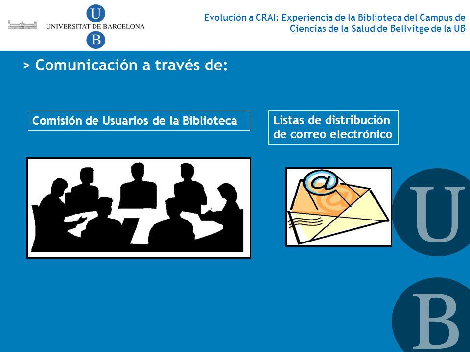 > Comunicación a través de: