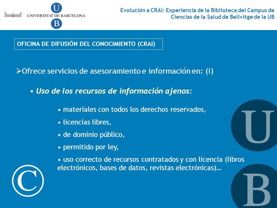 © Ofrece servicios de asesoramiento e información en: (I)