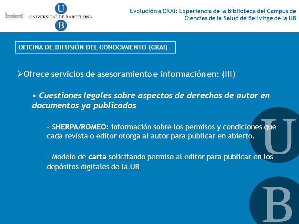 Ofrece servicios de asesoramiento e información en: (III)