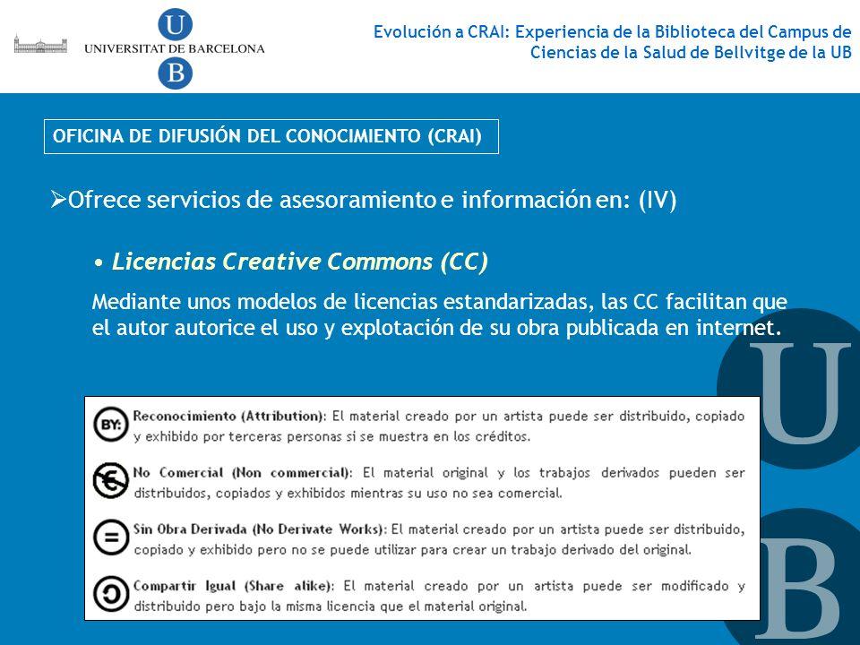 Ofrece servicios de asesoramiento e información en: (IV)