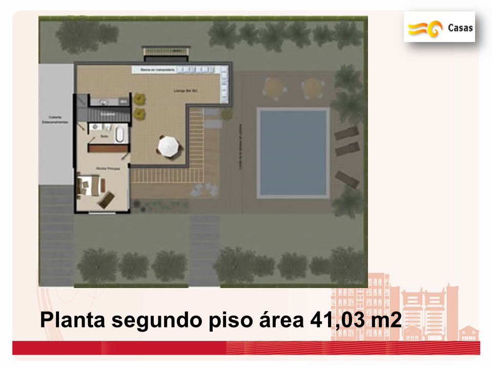 Planta segundo piso área 41,03 m2