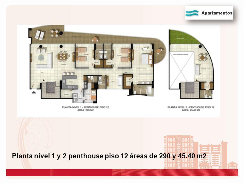 Planta nivel 1 y 2 penthouse piso 12 áreas de 290 y 45.40 m2