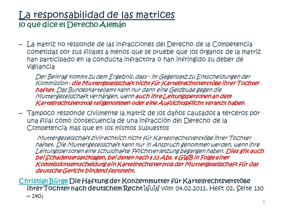 La responsabilidad de las matrices lo que dice el Derecho Alemán
