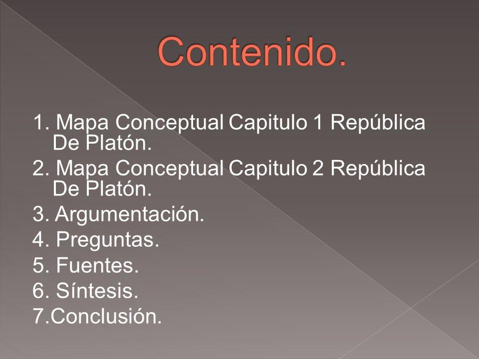 Contenido. 1. Mapa Conceptual Capitulo 1 República De Platón.
