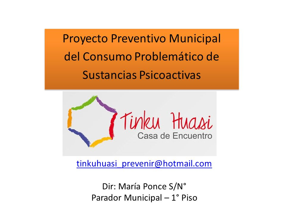 Proyecto Preventivo Municipal del Consumo Problemático de