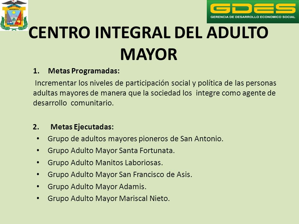 CENTRO INTEGRAL DEL ADULTO MAYOR