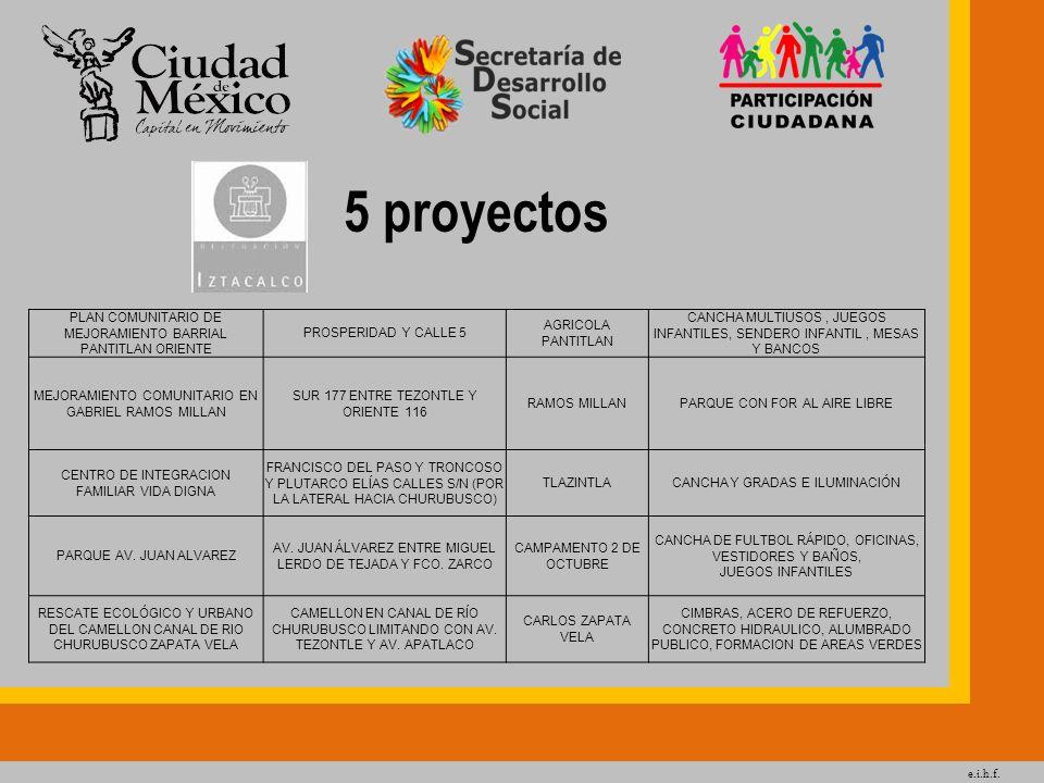 5 proyectos PLAN COMUNITARIO DE MEJORAMIENTO BARRIAL PANTITLAN ORIENTE