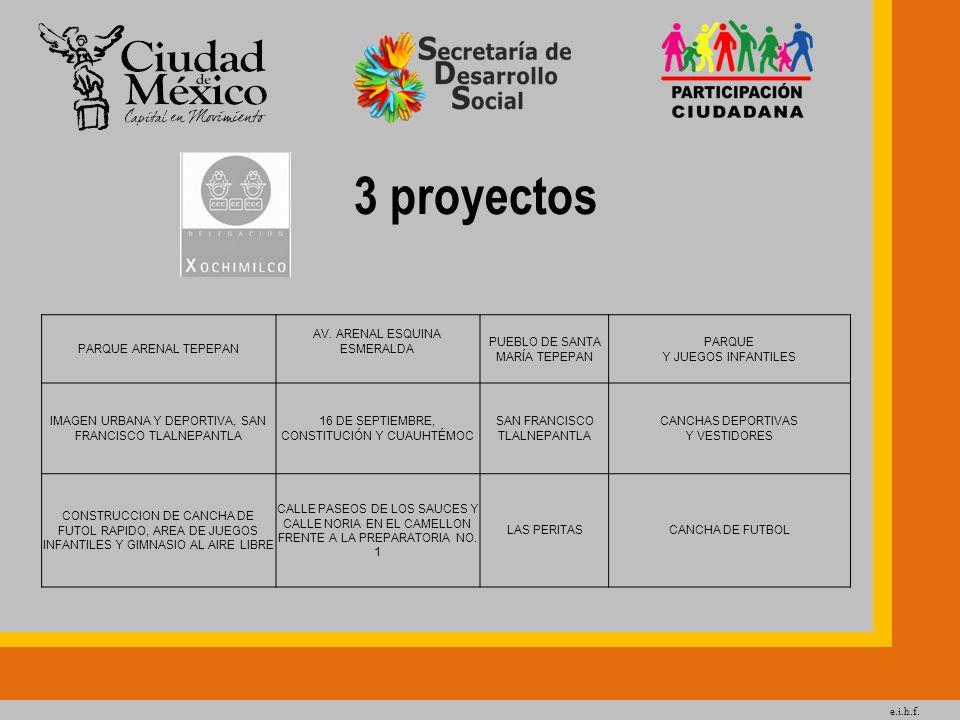 3 proyectos PARQUE ARENAL TEPEPAN AV. ARENAL ESQUINA ESMERALDA