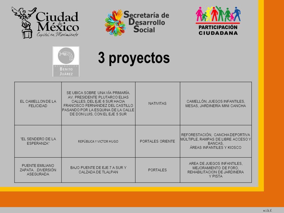 3 proyectos EL CAMELLON DE LA FELICIDAD