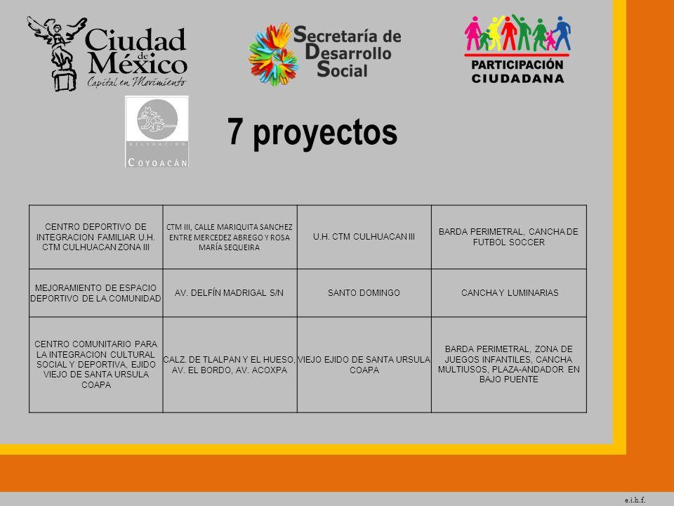 e.i.h.f. 7 proyectos. CENTRO DEPORTIVO DE INTEGRACION FAMILIAR U.H. CTM CULHUACAN ZONA III.