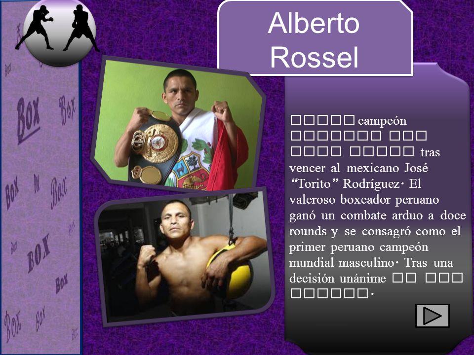 Nuevo campeón mundial AMB mini mosca tras vencer al mexicano José Torito Rodríguez. El valeroso boxeador peruano ganó un combate arduo a doce rounds y se consagró como el primer peruano campeón mundial masculino. Tras una decisión unánime de los jueces.