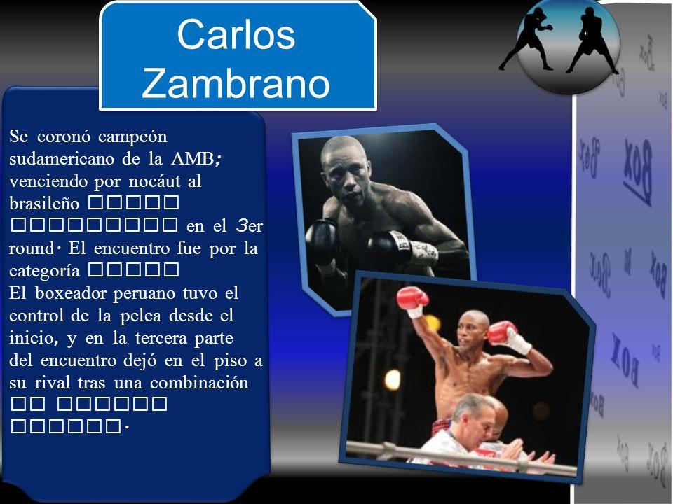 Se coronó campeón sudamericano de la AMB; venciendo por nocáut al brasileño Darli Goncalvez en el 3er round. El encuentro fue por la categoría pluma
