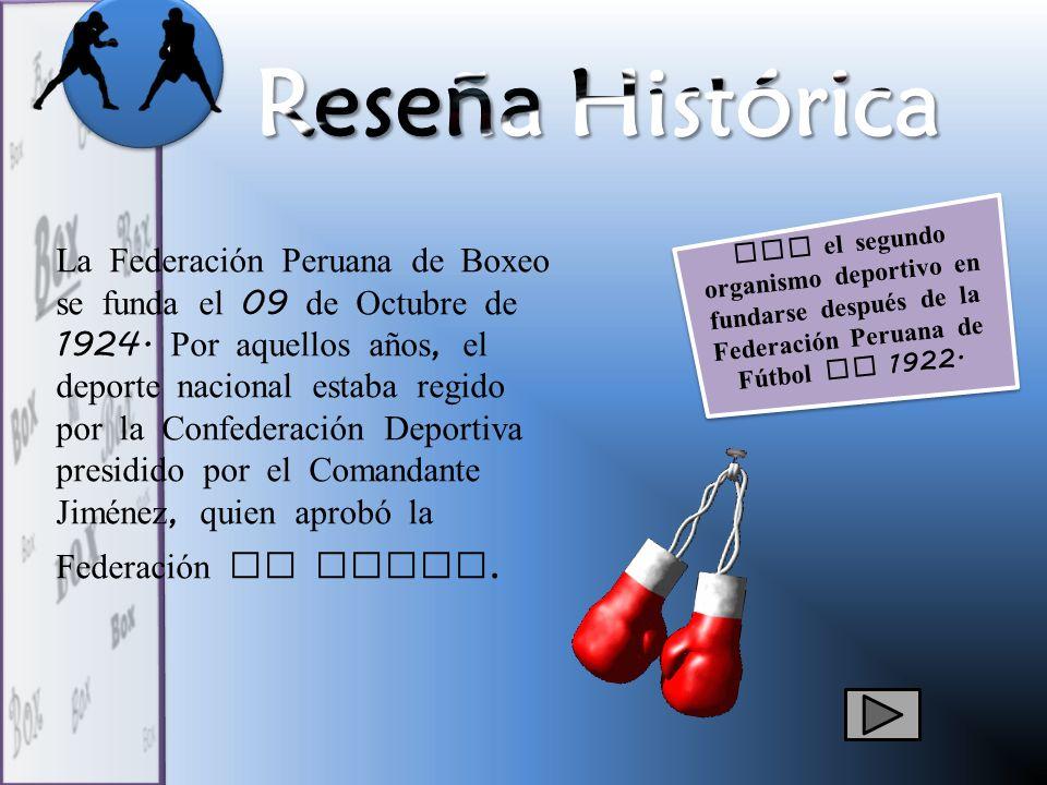 Reseña Histórica Fue el segundo organismo deportivo en fundarse después de la Federación Peruana de Fútbol en 1922.