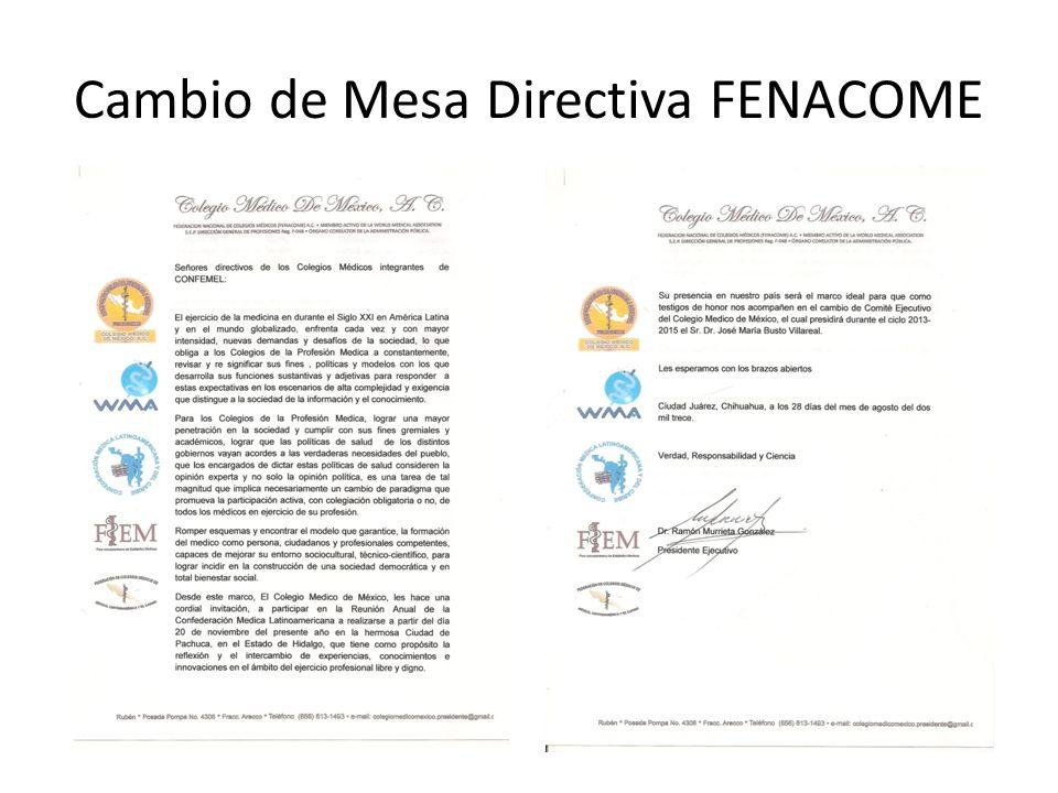 Cambio de Mesa Directiva FENACOME