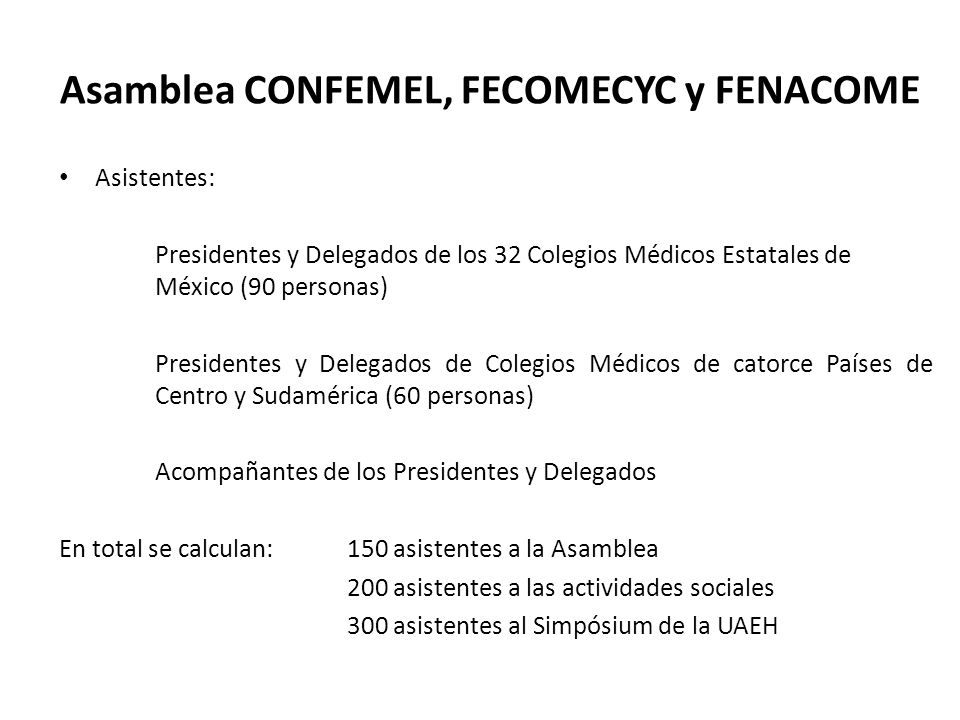 Asamblea CONFEMEL, FECOMECYC y FENACOME