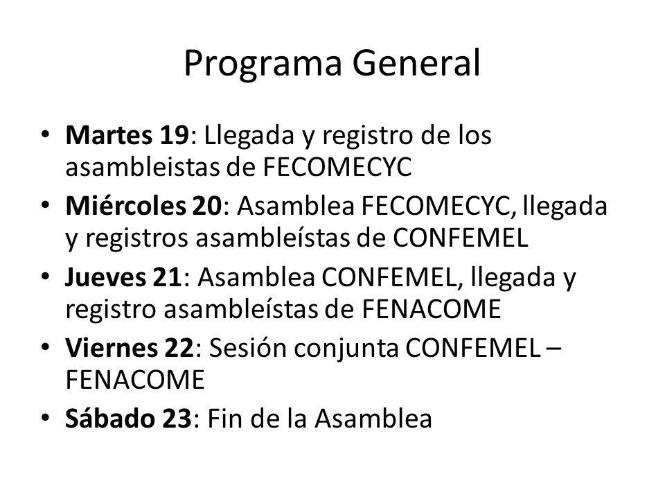 Programa General Martes 19: Llegada y registro de los asambleistas de FECOMECYC.