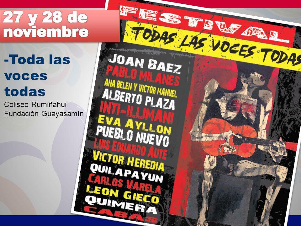 27 y 28 de noviembre -Toda las voces todas Coliseo Rumiñahui