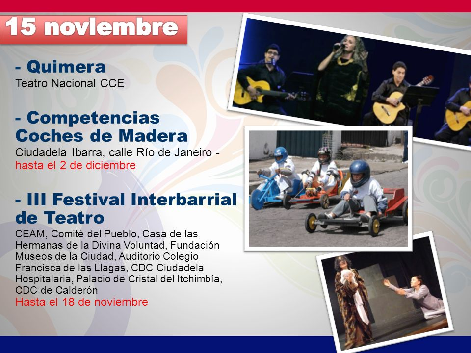 15 noviembre - Quimera - Competencias Coches de Madera
